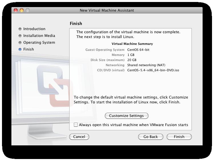 Default Settings For VM