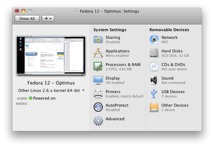VMware Fusion Settings
