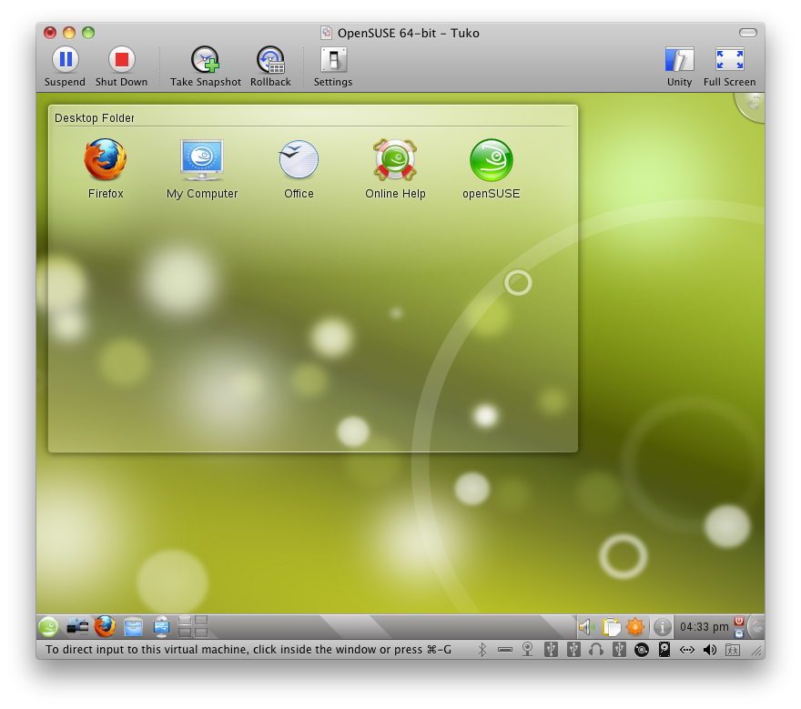 The initial desktop presented to the user.